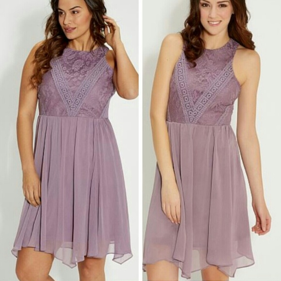 Maurices Plus Size Lavender Floral Lace Dress NWT